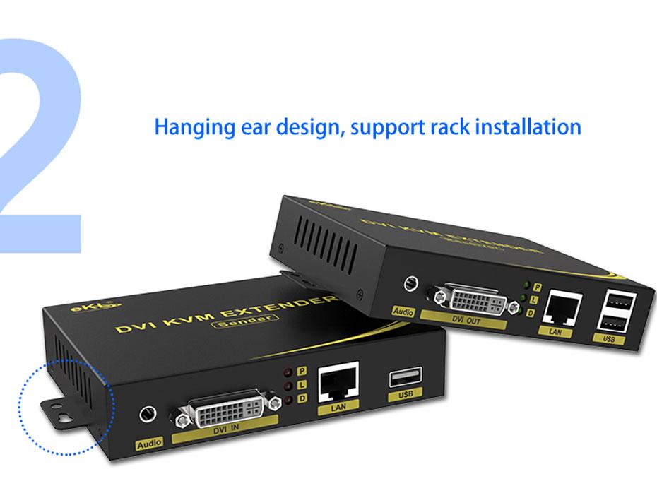 DVI KVM cat6 extender DU200 supports ear-mounted rack installation