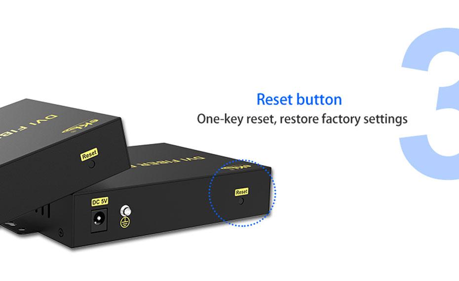 DVI KVM cat6 extender DU200 supports 1-key reset to restore factory settings