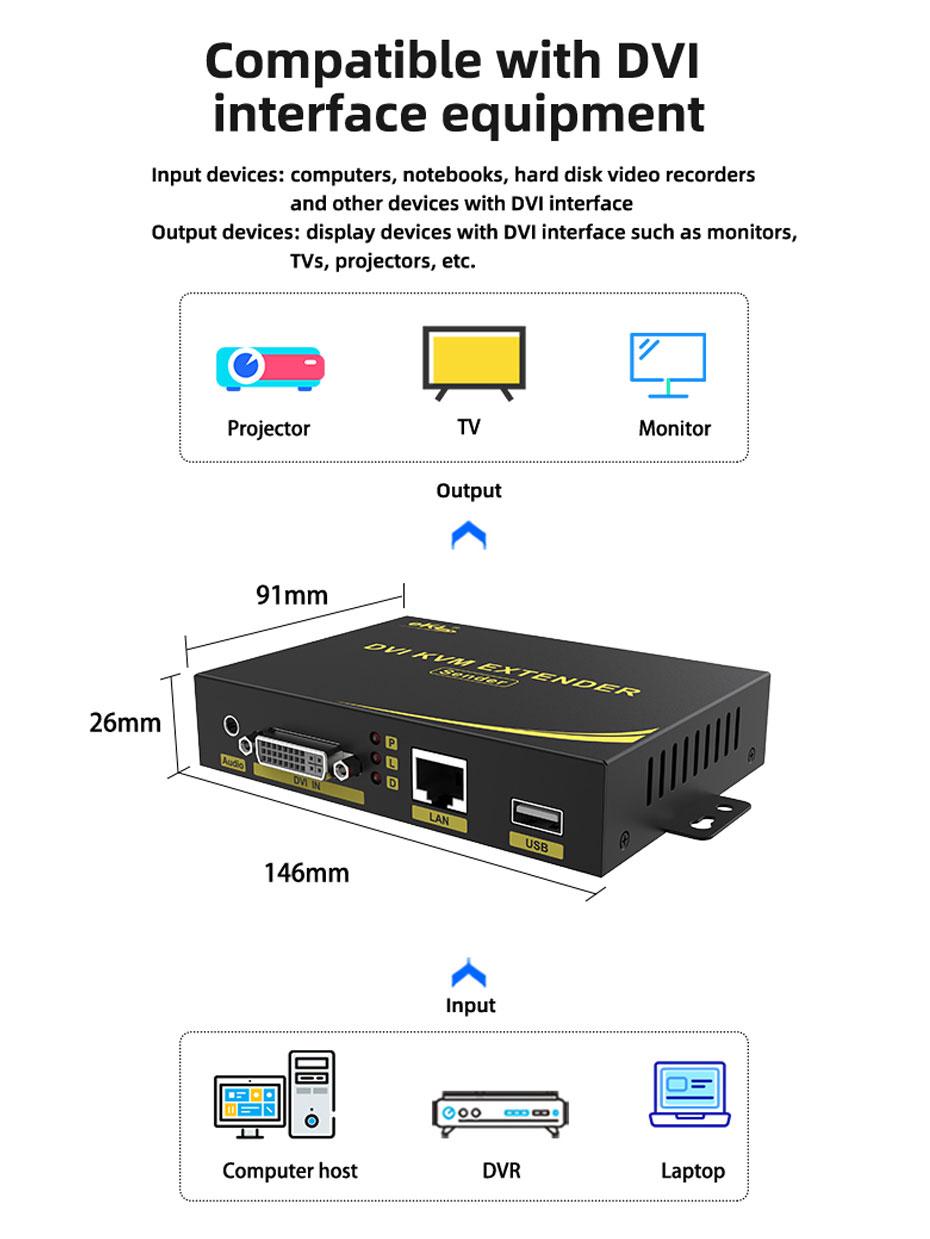 DVI KVM cat6 extender DU200 compatible with DVI interface equipment