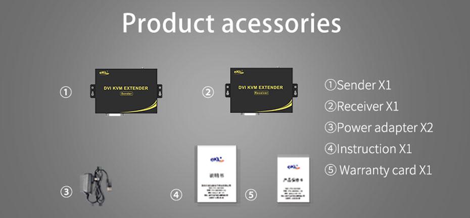 DVI KVM cat6 extender DU200 standard accessories