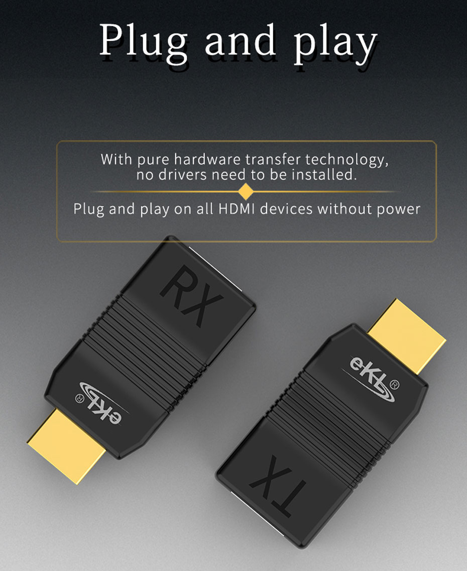 HDMI single cable extender EX01 does not require independent power supply. Plug and Play is supported.