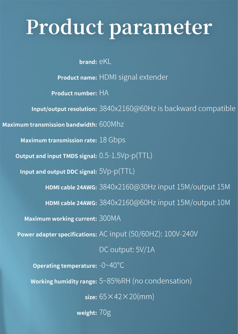 50m HDMI HD signal amplifier extender HA specifications