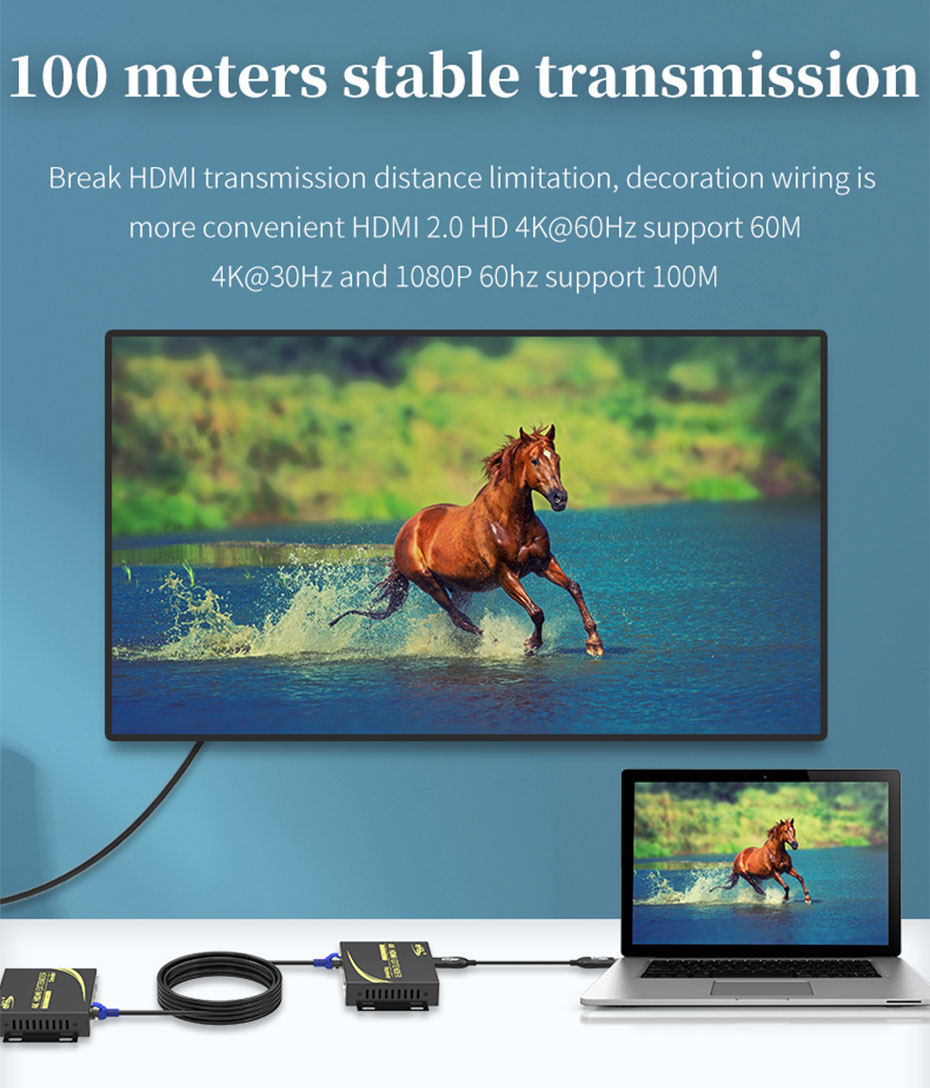 HDMI single cable extender 4K 100 meters HC100 4k@60Hz resolution can extend 60 meters