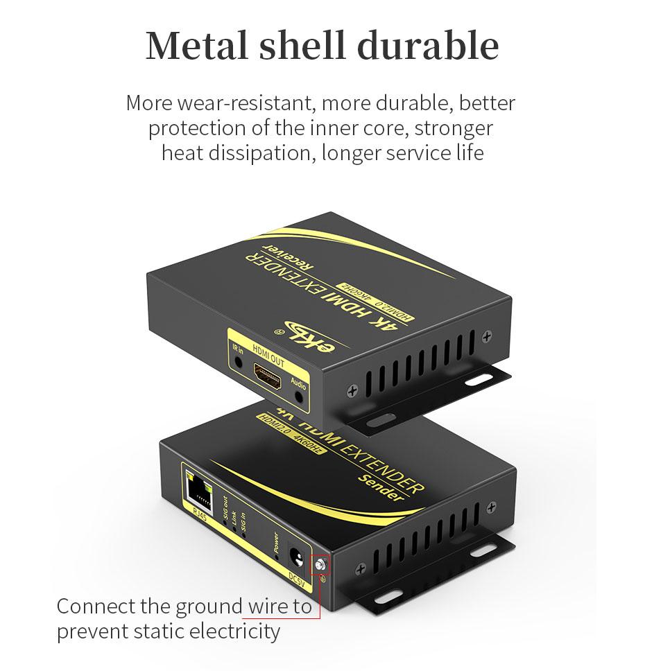 HDMI extender 4K 60Hz HC100 adopts metal body, easy to dissipate heat