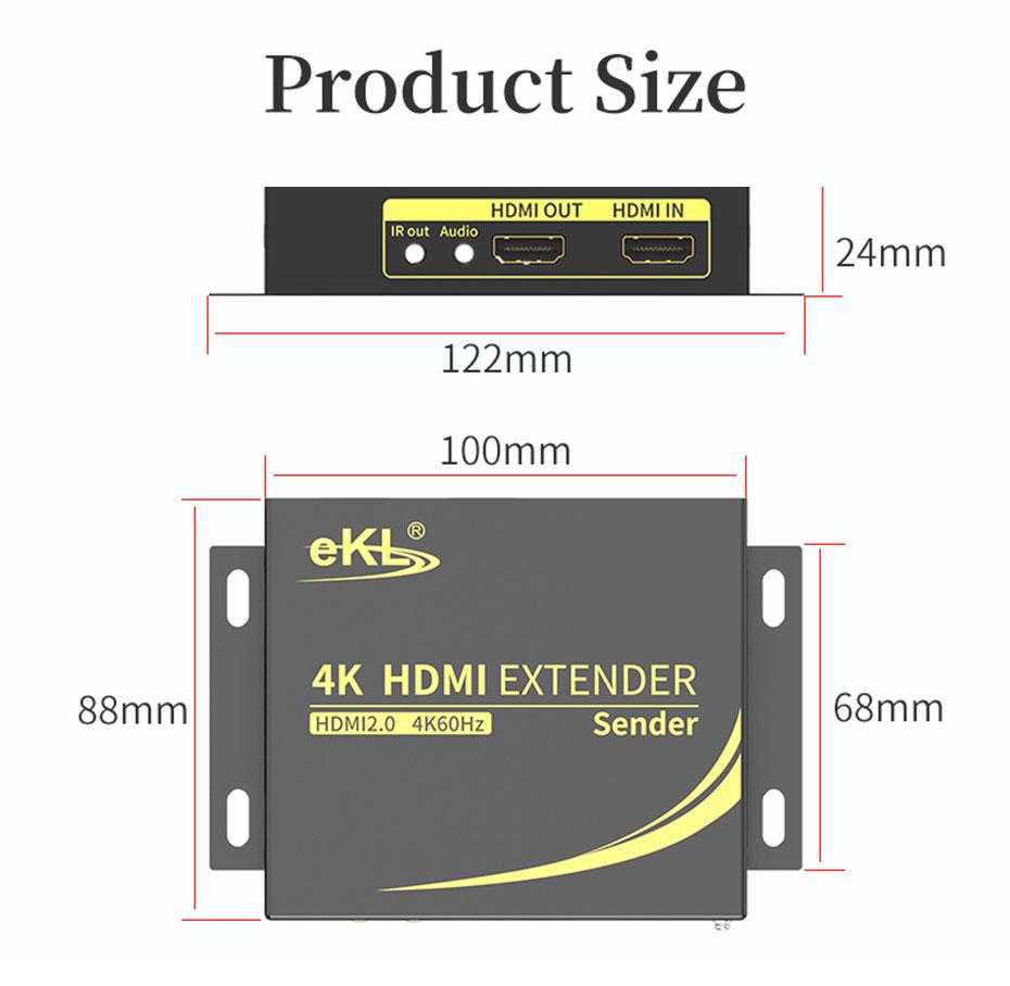 HDMI extender 4K 60Hz HC100 transmitter length: 122mm; width: 88mm; height: 24mm