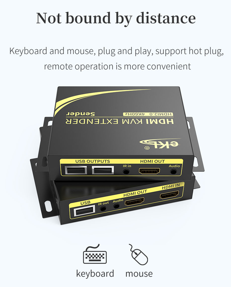 HDMI KVM extender 4K 100 meters HCK100 supports hot swap