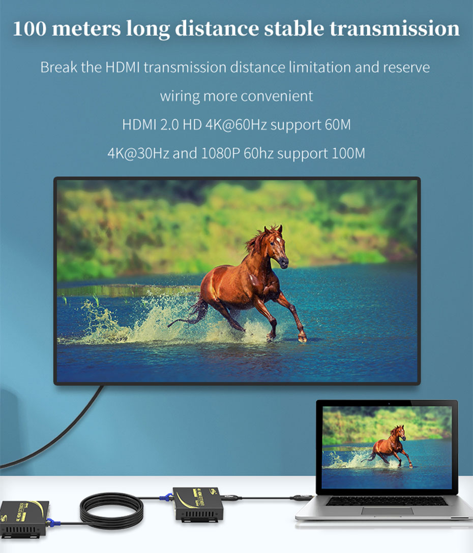 HDMI KVM Extender 4K 100m HCK100 4K@60Hz resolution extension 60m; 4K@30Hz and 1080p@60H resolution extension 100m