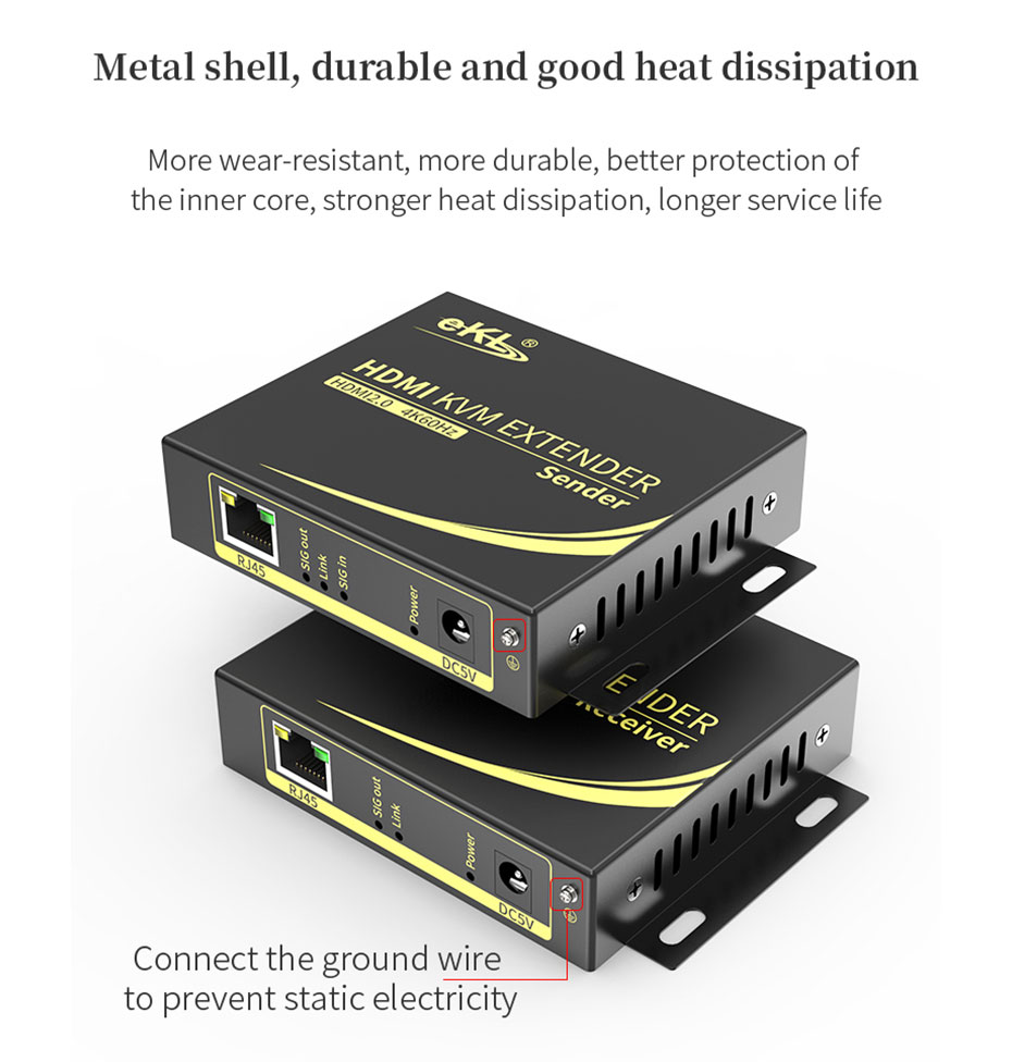 HDMI KVM extender 4K 100 meters HCK100 is made of metal, easy to dissipate heat