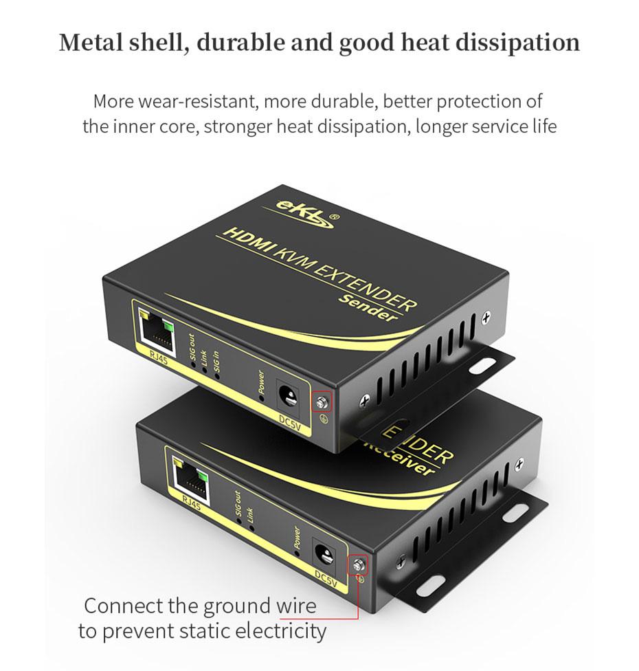 HDMI KVM extender 4K 100 meters HCK100 is made of metal, easy to dissipate heat
