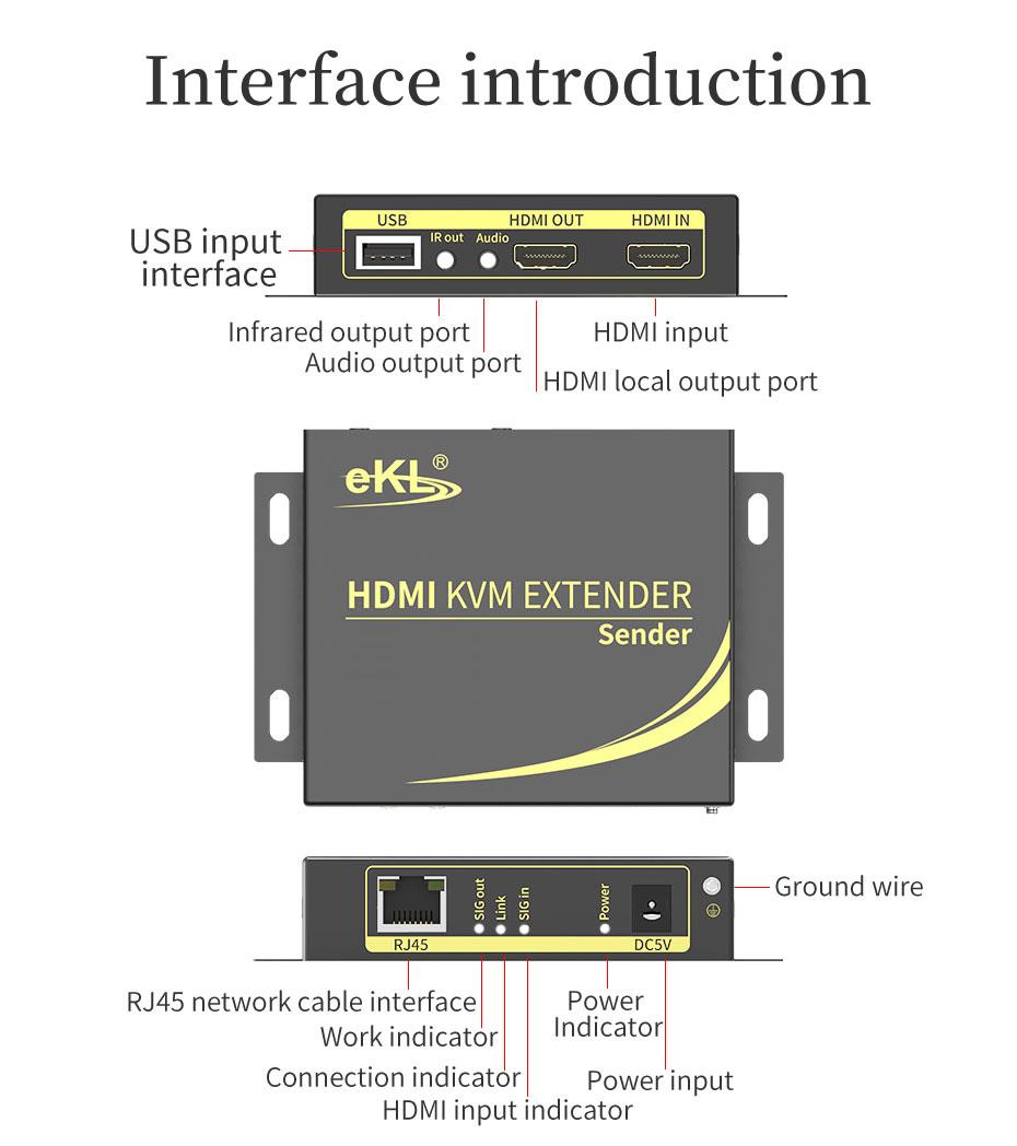 HDMI KVM extender 4K 100m HCK100 transmitter interface description