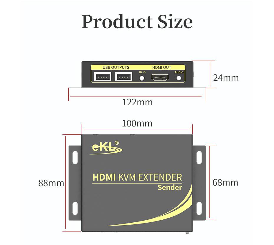 HDMI KVM extender 4K 100 meters HCK100 transmitter length: 122mm; width: 88mm; height: 24mm