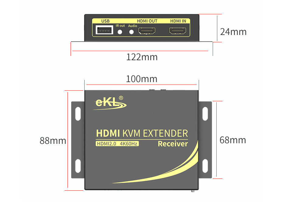 HDMI KVM extender 4K 100 meters HCK100 receiving end length: 122mm; width: 88mm; height: 24mm