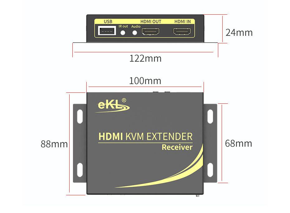 HDMI KVM extender 4K 100 meters HCK100 receiving end length: 122mm; width: 88mm; height: 24mm