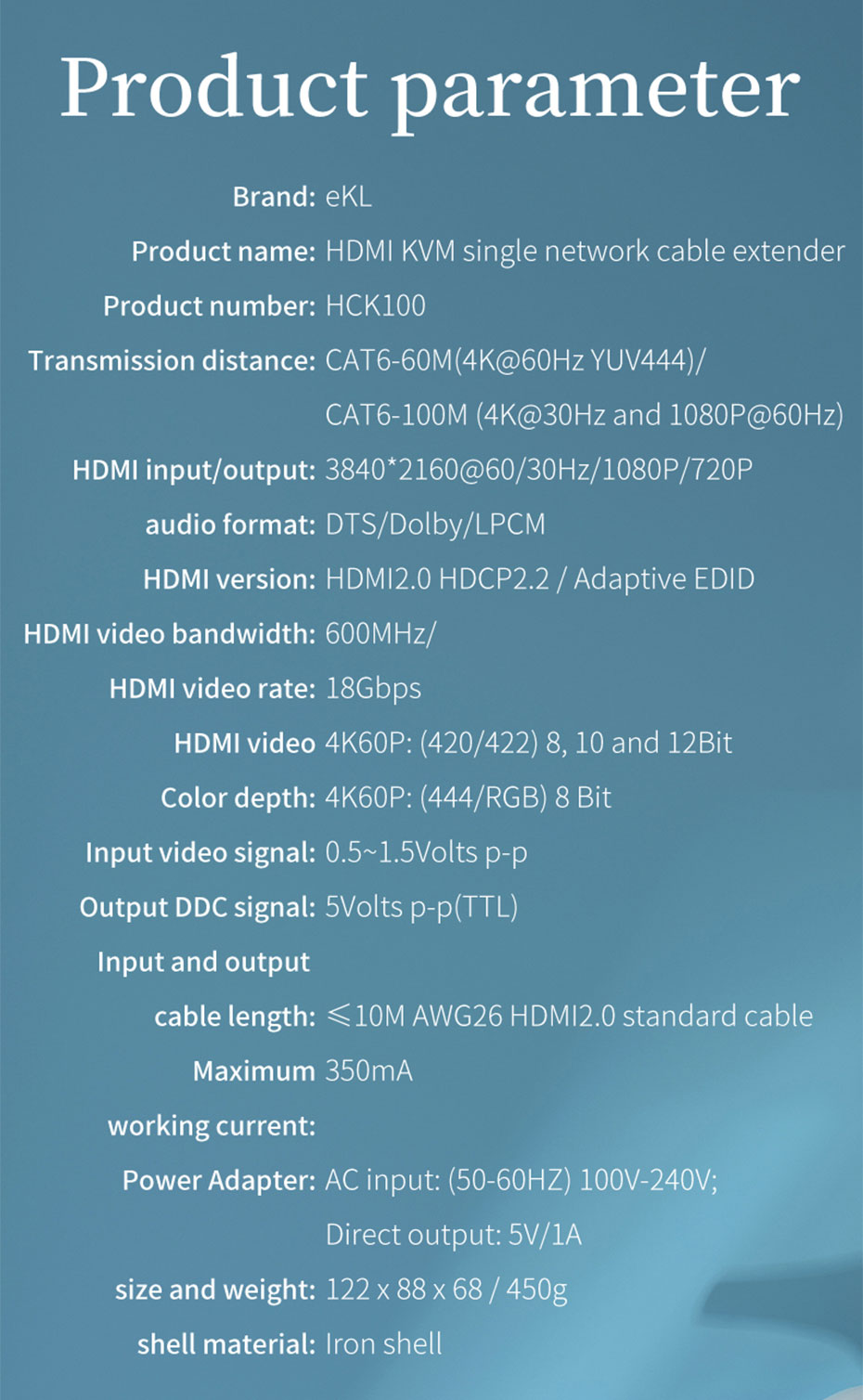HDMI KVM extender 4K 100 meters HCK100 specifications