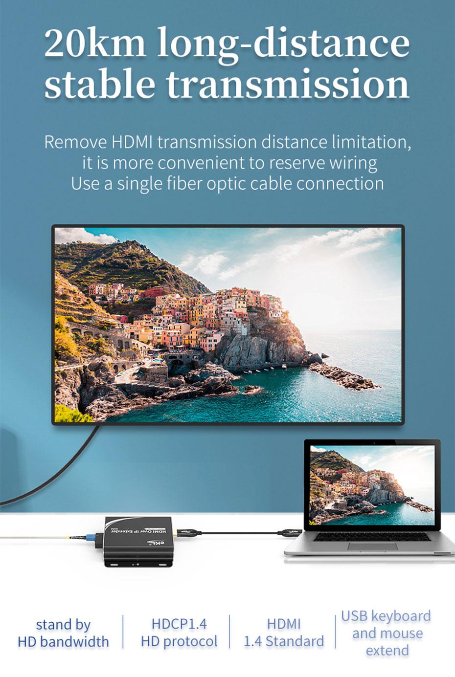 HDMI KVM optical fiber extender HE001 uses optical fiber cable to extend up to 20 kilometers