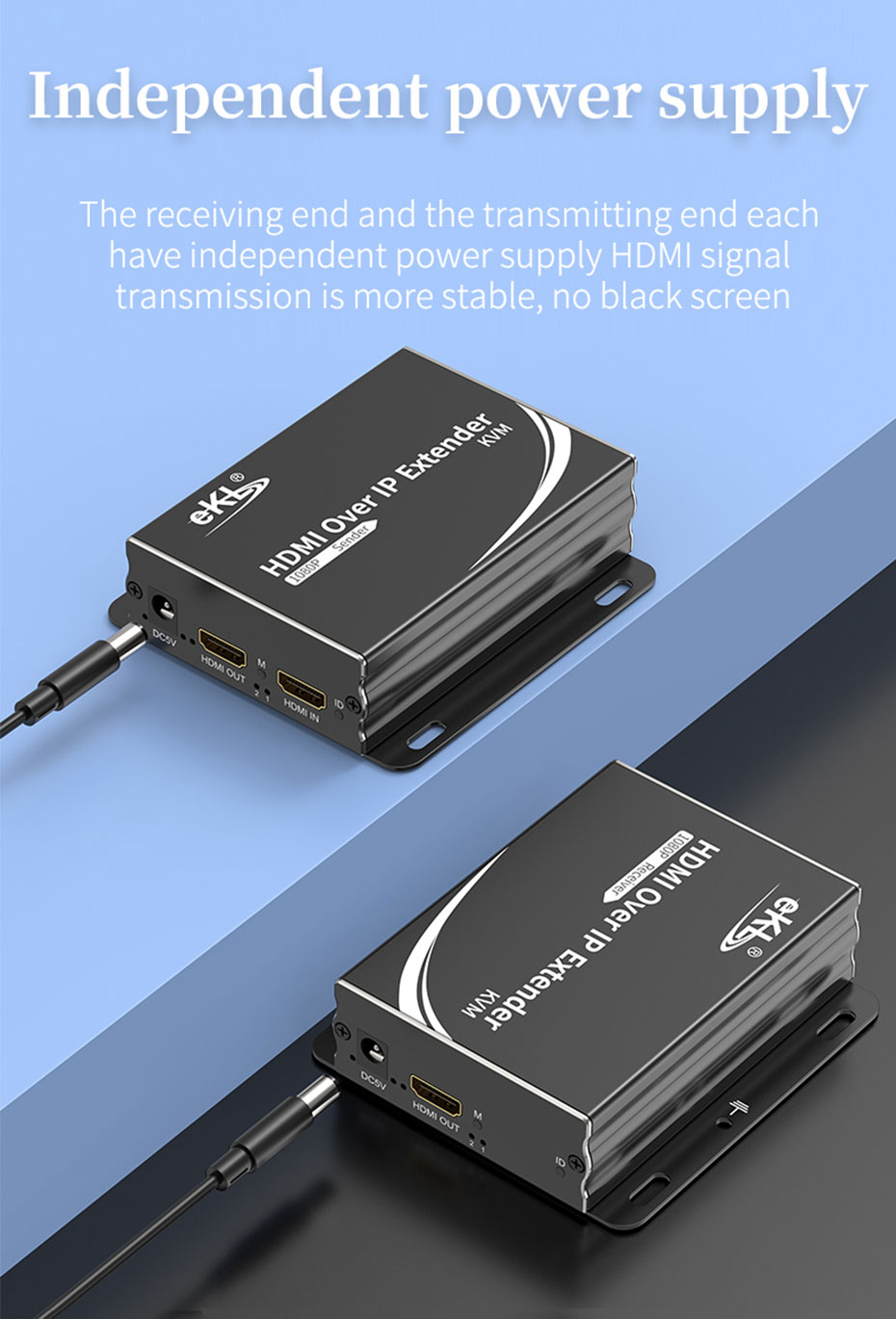 The HDMI KVM optical fiber extender HE001 is powered by an independent power source and works stably