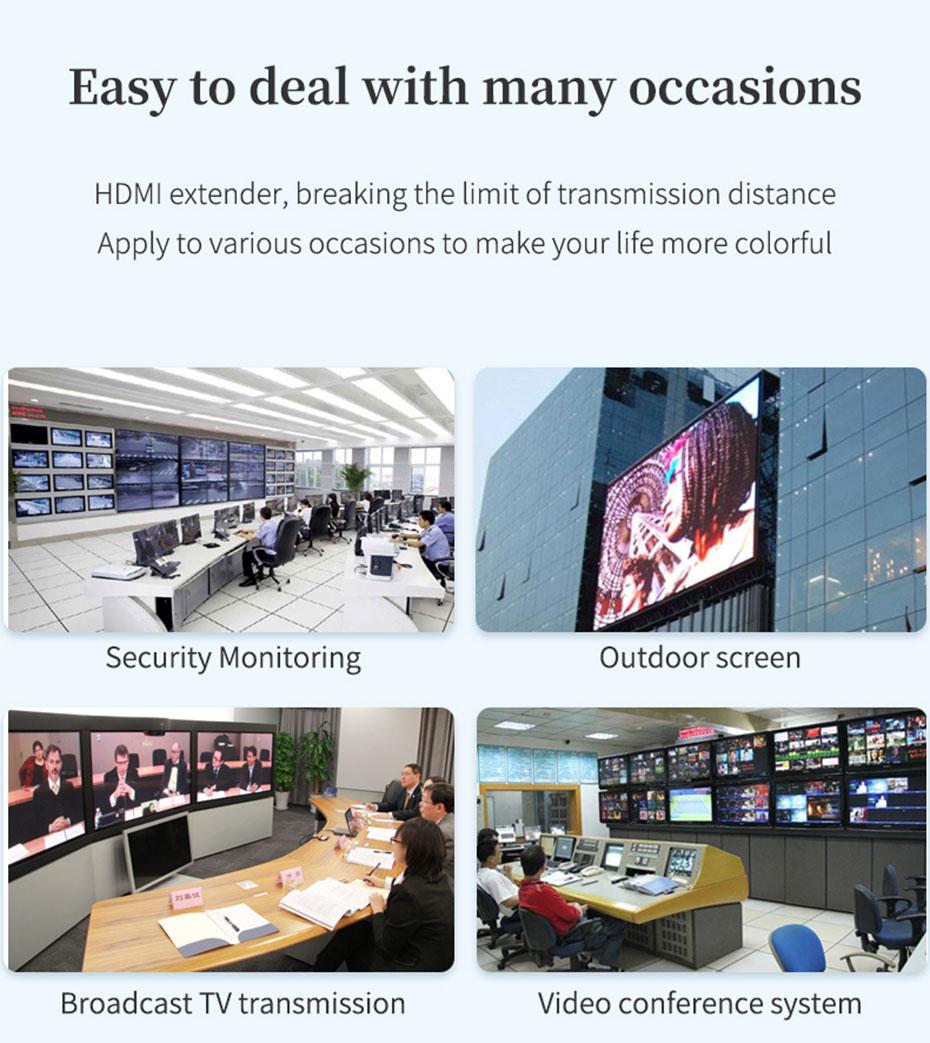 Some application scenarios of HDMI KVM optical fiber extender HE001