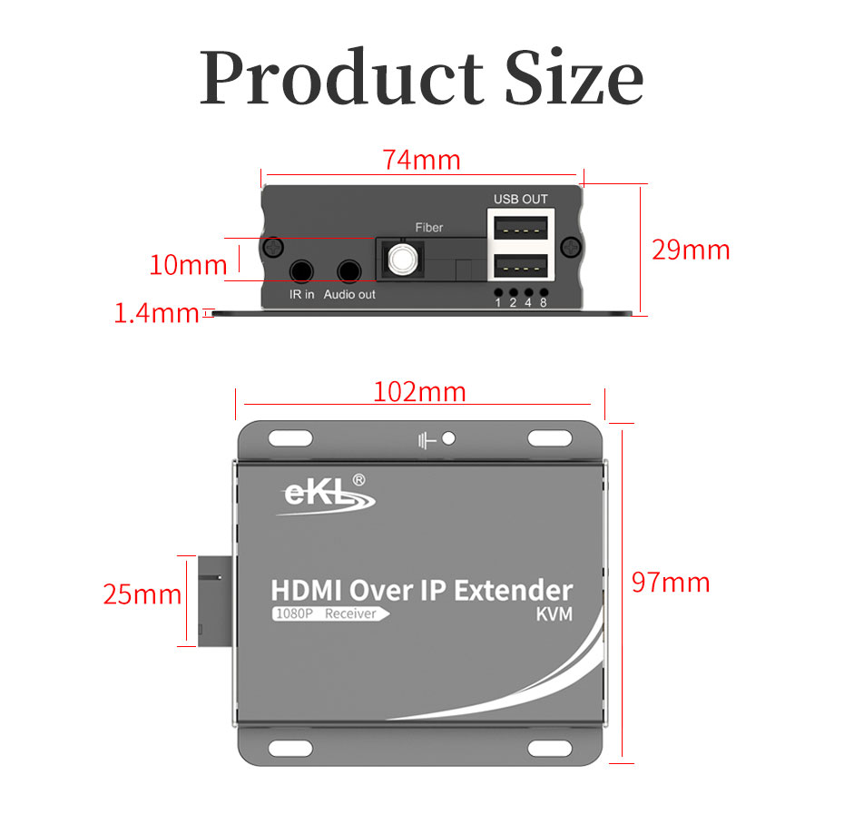 HDMI KVM fiber optic extender HE001 length: 102mm; width: 97mm; height: 29mm