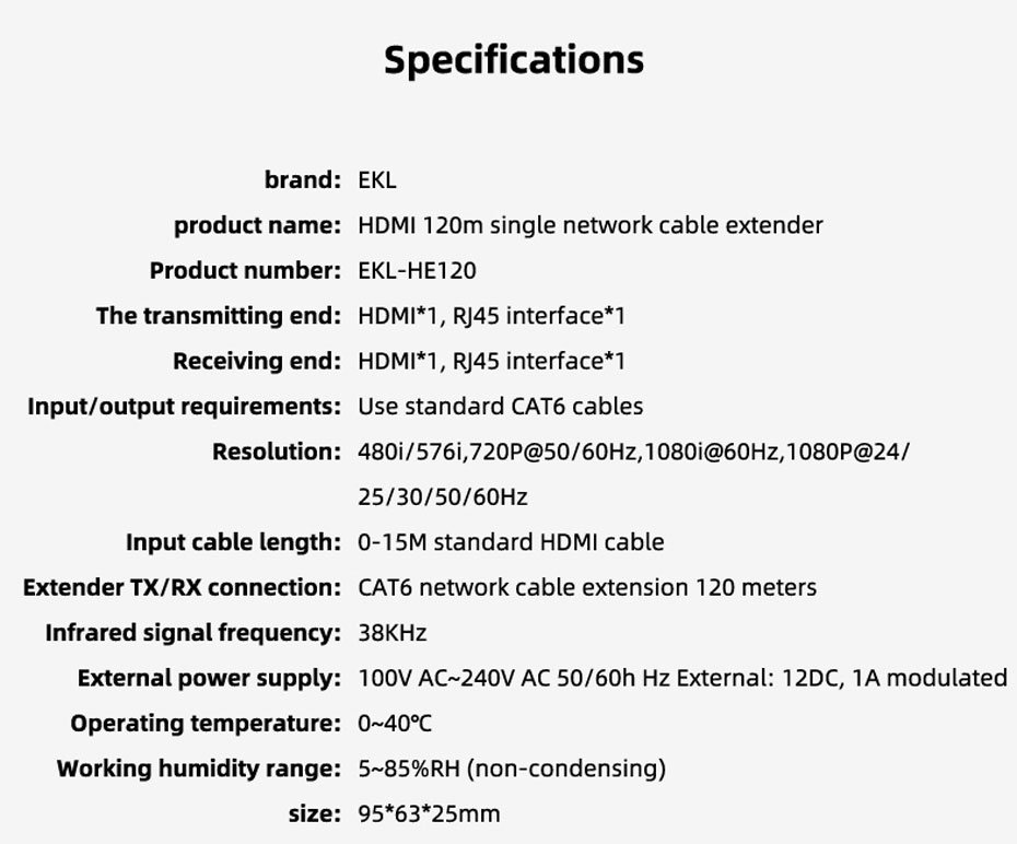 120m HDMI single network cable extender HE120 specifications