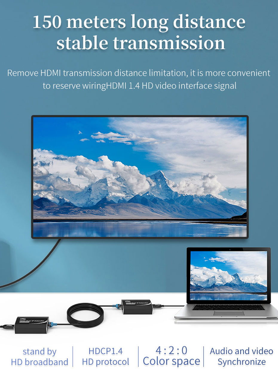 HDMI 1 to many extender HE200 can extend HDMI signal by 150 meters by using six kinds of unshielded network cable
