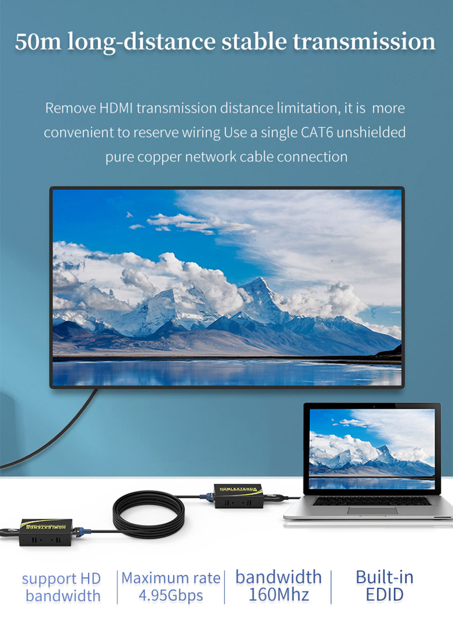 50m HDMI to RJ45 network cable extender HE50 is connected by a single CAT6 unshielded pure copper network cable