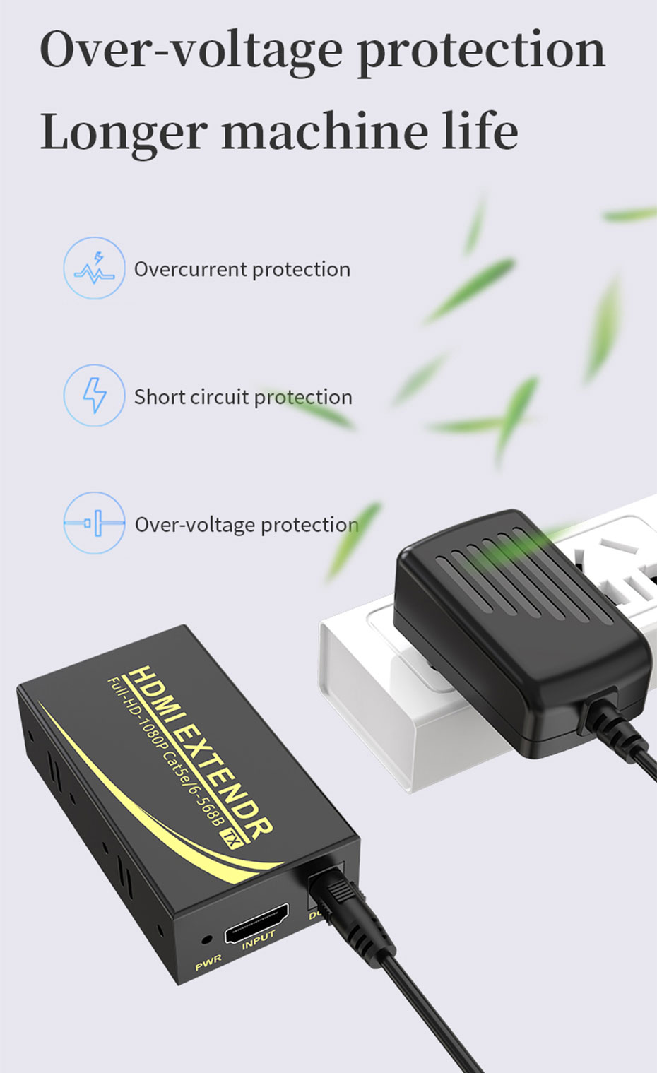 50m 1080p HDMI cat5e/6 extender HE50 connection diagram