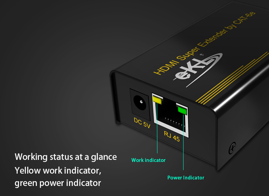 HDMI single cable extender HE60 use status indicator design