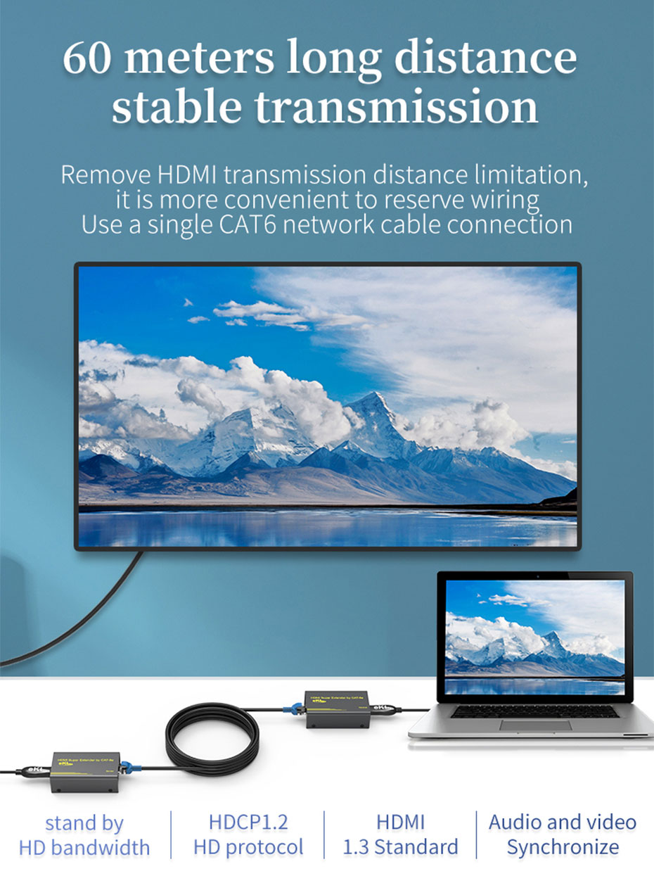 60m HDMI network cable extender HE60 uses cat6 network cable for extension