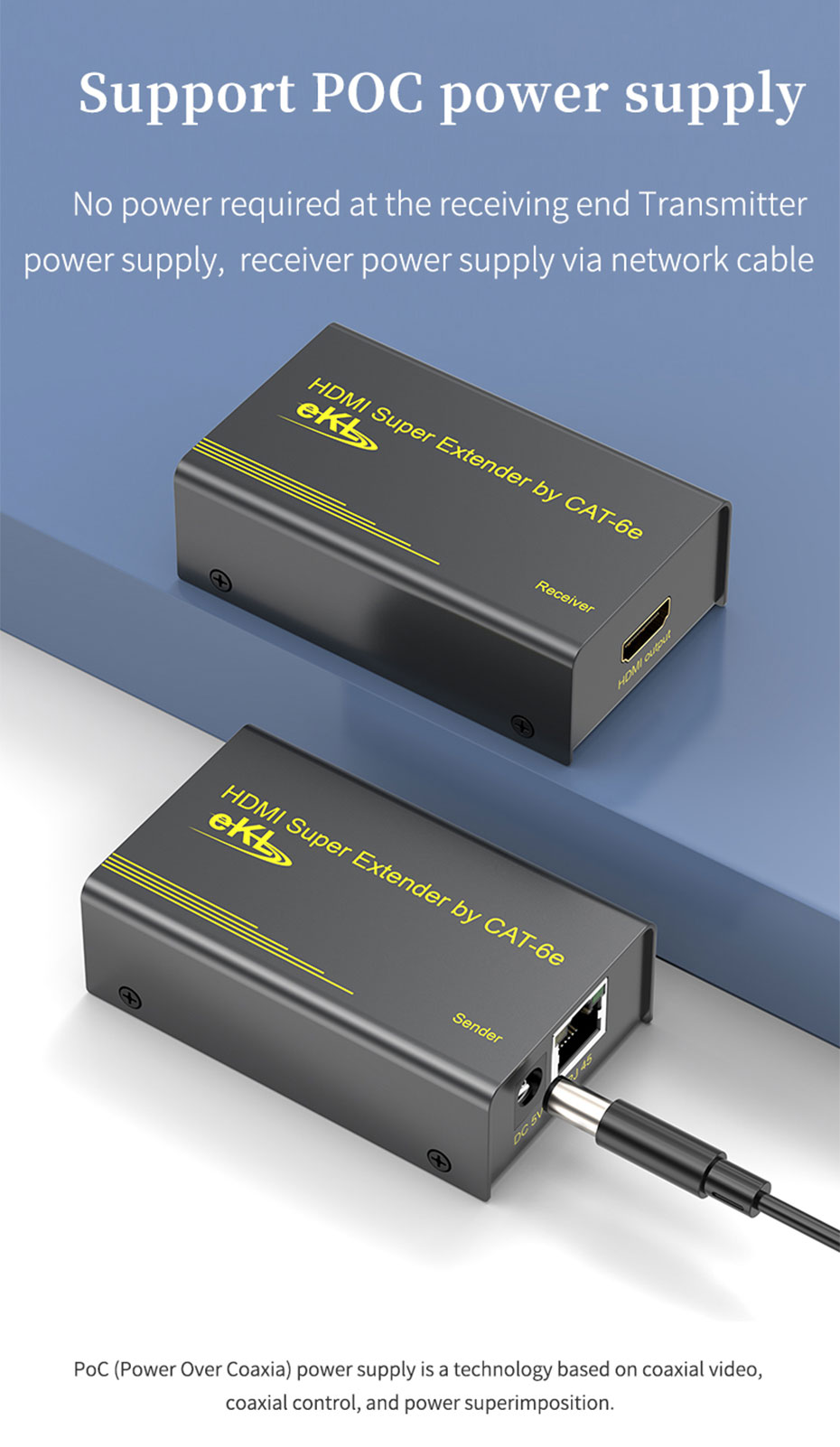 60m HDMI network cable extender HE60 supports POC power supply function