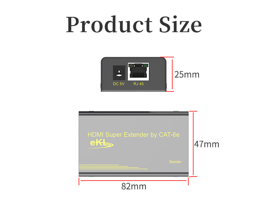 60m HDMI network cable extender HE60 length: 82mm; width: 47mm; height: 25mm