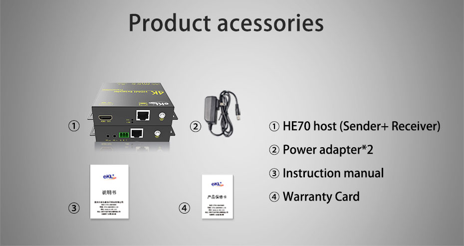 HDMI extender HE70 official standard accessories