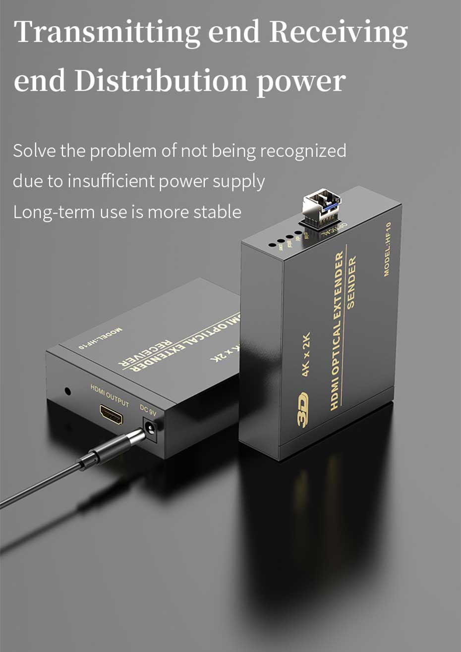 HDMI multi-mode fiber optic extender HF10 distribution power supply