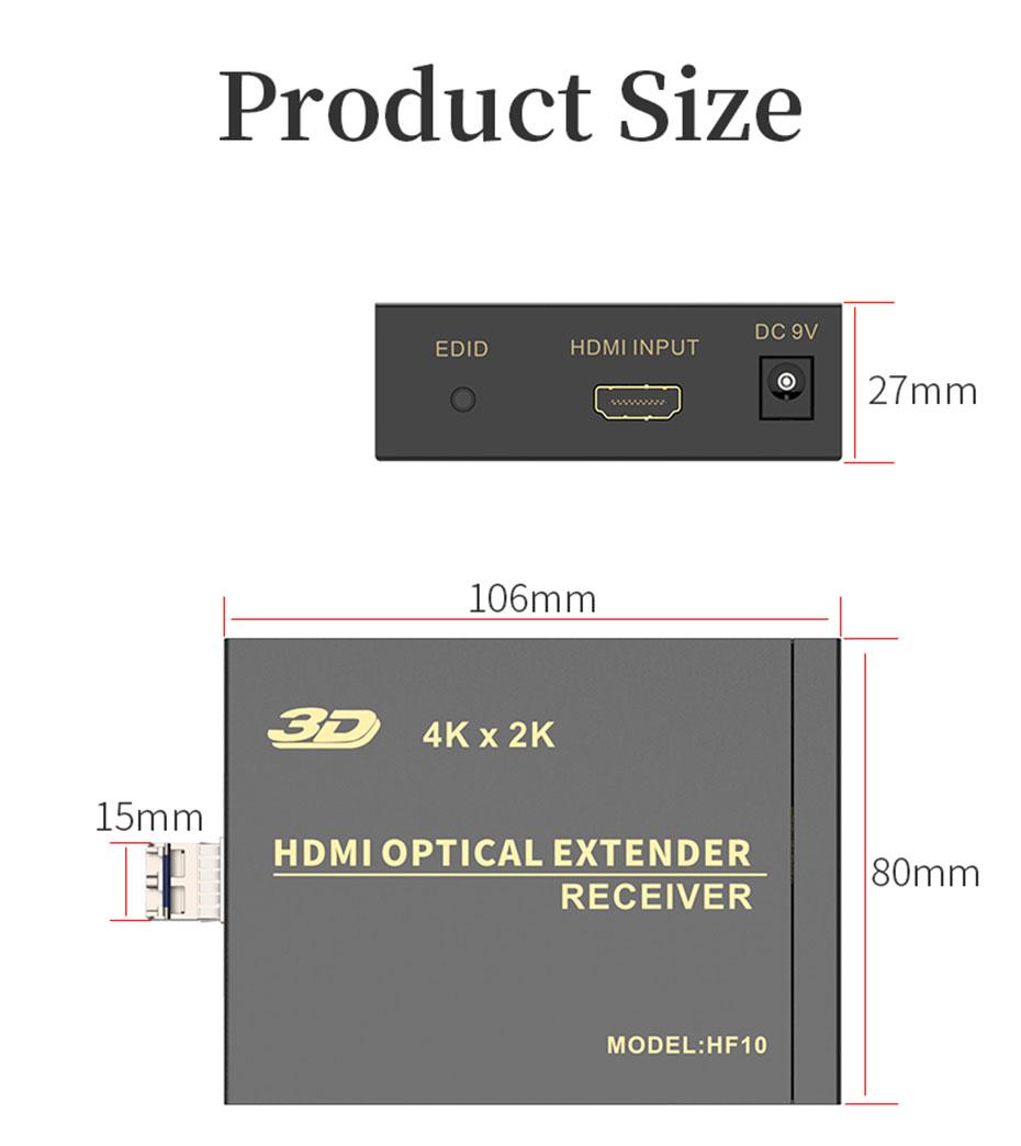 HDMI multimode fiber optic extender HF10 length: 106mm; width: 80mm; height: 27mm