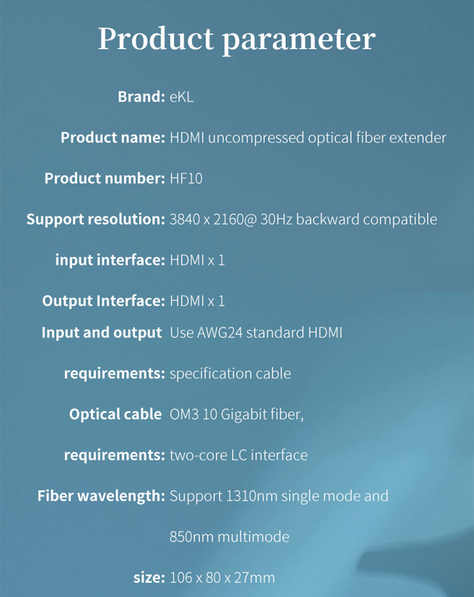 Specifications of HDMI Multimode Optical Fiber Extender HF10
