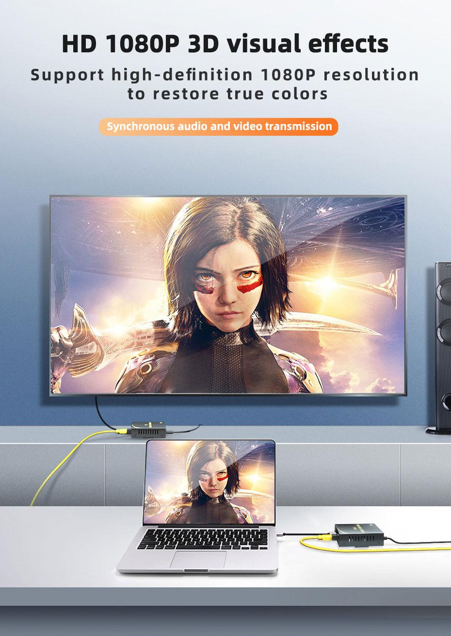 HDMI fiber extender supports 1080p HD resolution