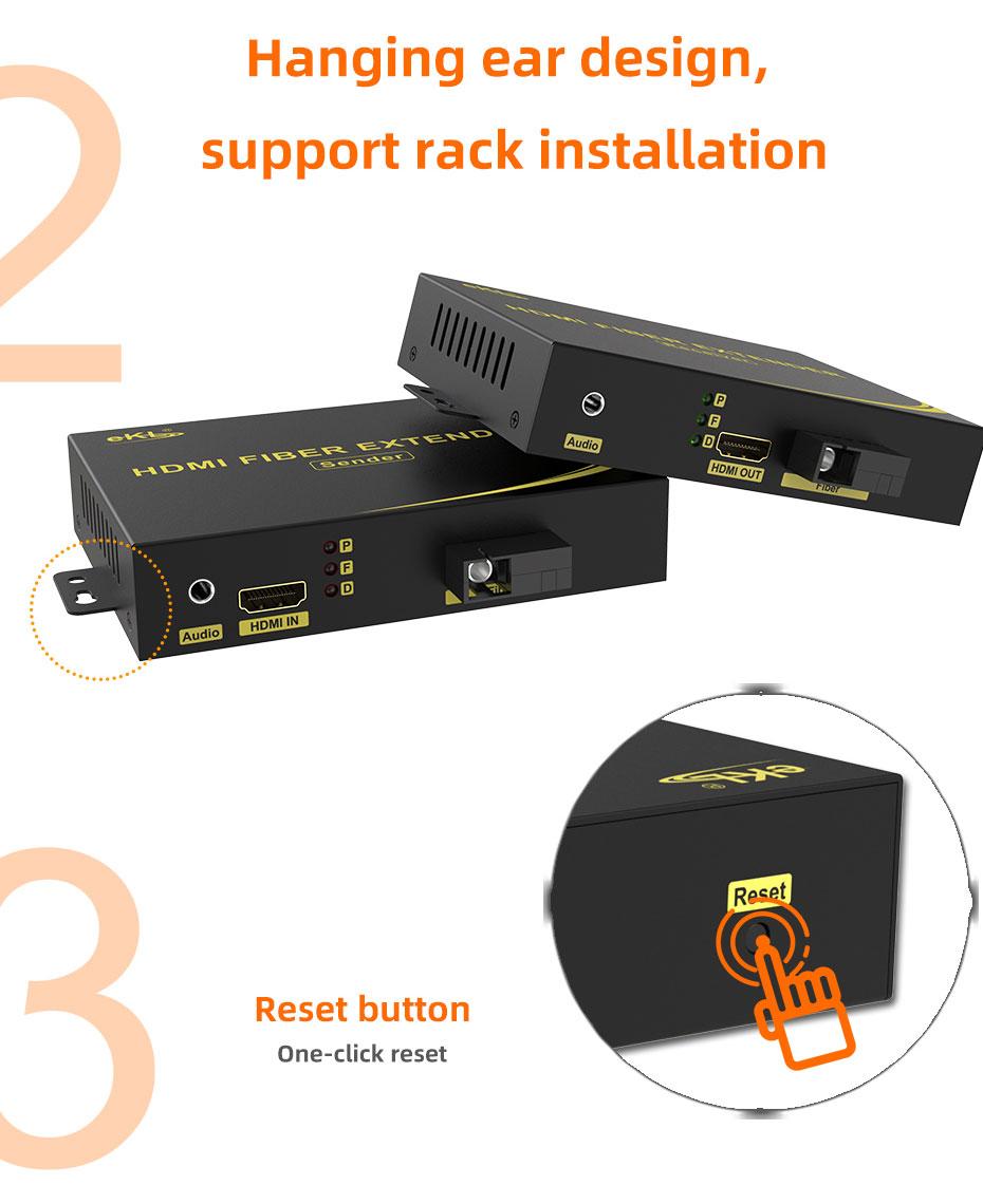 HDMI fiber extender supports rack installation, 1-button reset