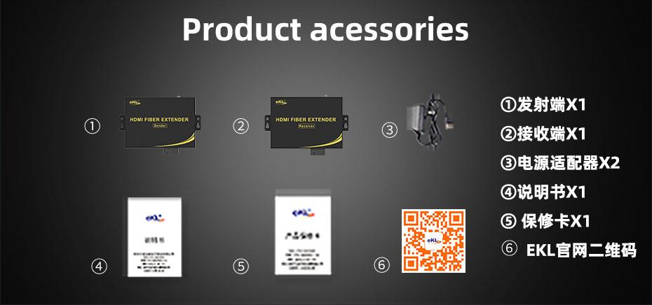 HDMI fiber extender standard accessories