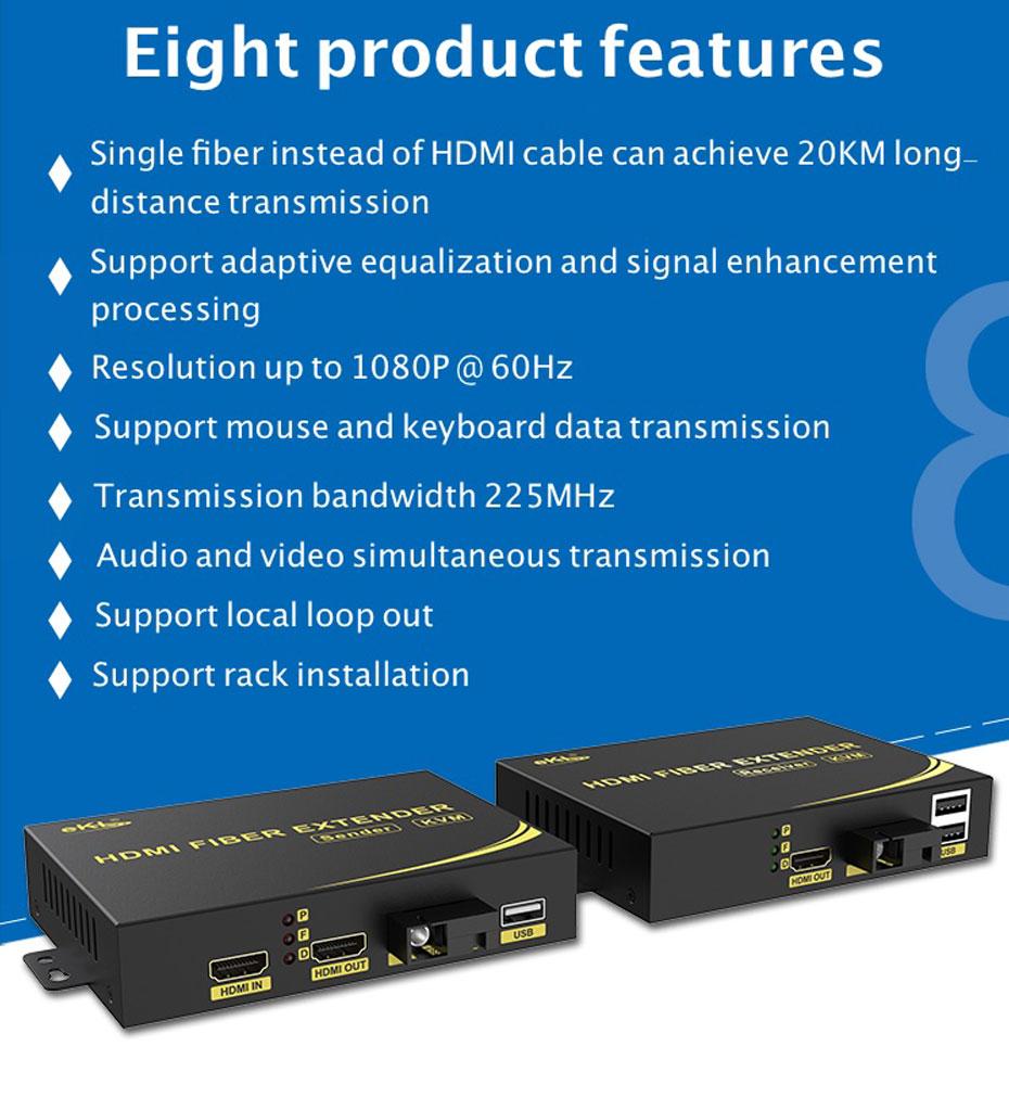8 Product Features of HDMI KVM Fiber Extender HFKU200