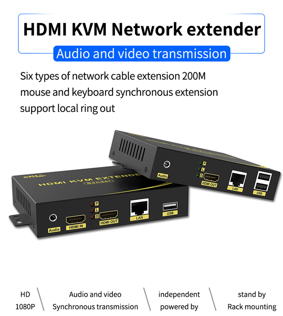 200m local loop out HDMI KVM network extender HKU200 supports audio and video synchronous transmission
