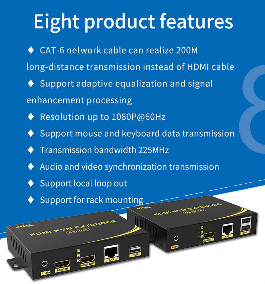 Eight product features of HDMI KVM Network Extender HKU200