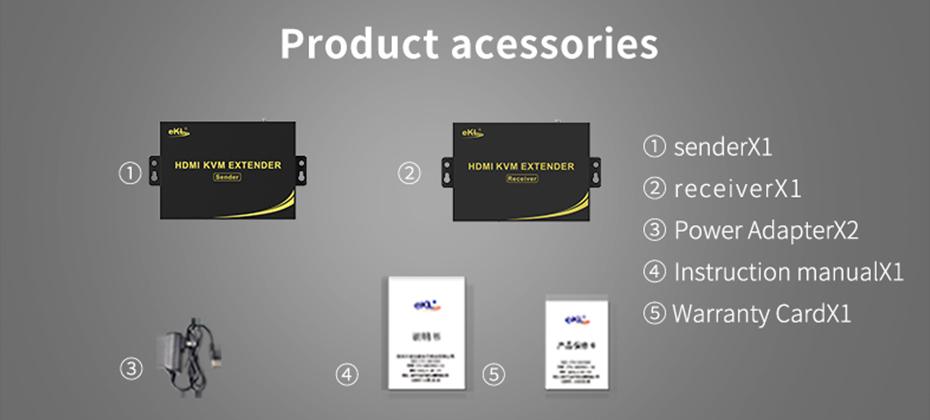 HDMI KVM Network Extender HKU200 official standard accessories