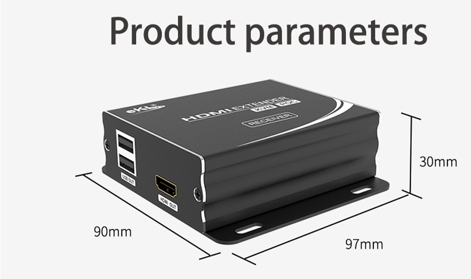 HDMI KVM single network cable extender HU12 length 97mm; width 90mm; height 30mm