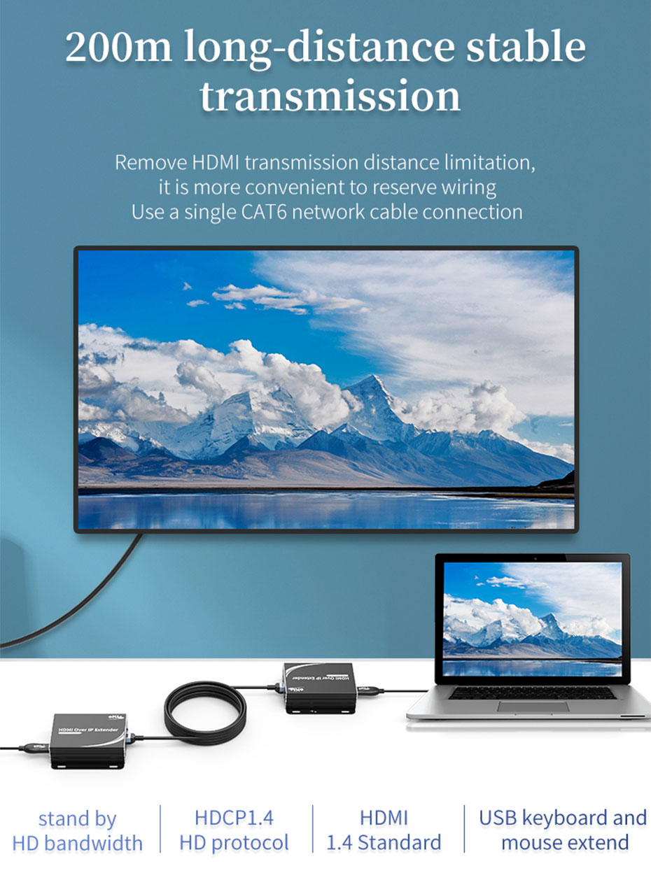 HDMI KVM Extender 1 to many/many to many HU150 supports up to 200 meters extension