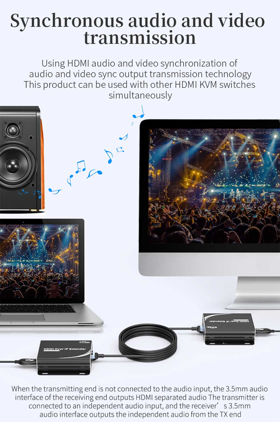 HDMI KVM extender 1-to-many/many-to-many HU150 supports simultaneous audio and video transmission