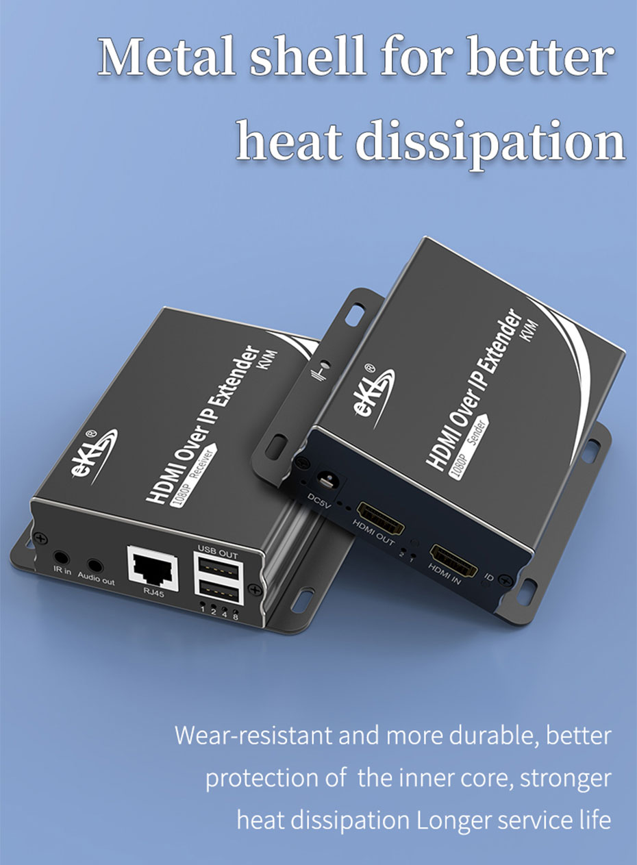 HDMI KVM extender 1 to many/many to many HU150 adopts metal body, easy to dissipate heat