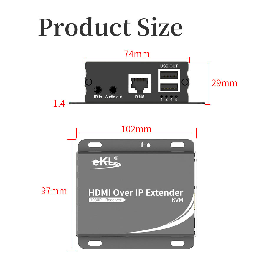 HDMI KVM extender 1 to many/many to many HU150 length: 102mm; width: 97mm; height: 29mm