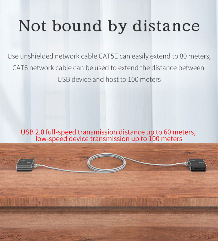 USB single network cable extension distributor HUE can not only extend USB, but also distribute multiple USB ports