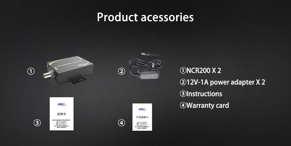 IP network coaxial transmitter NCR200 standard accessories