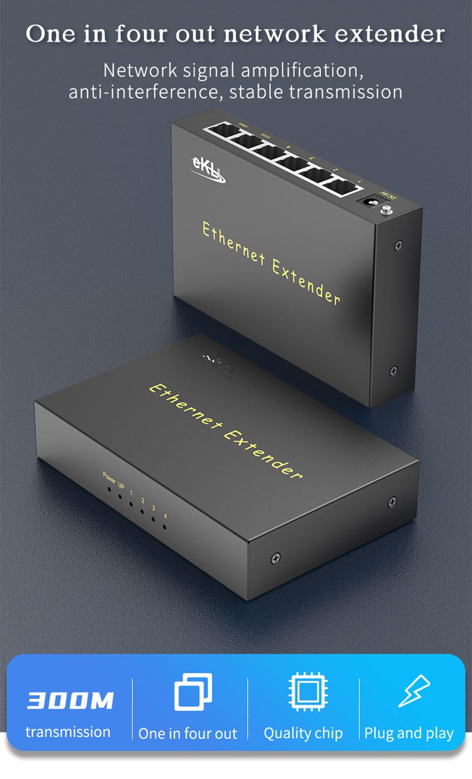 300米网络延长器1进4出NE300