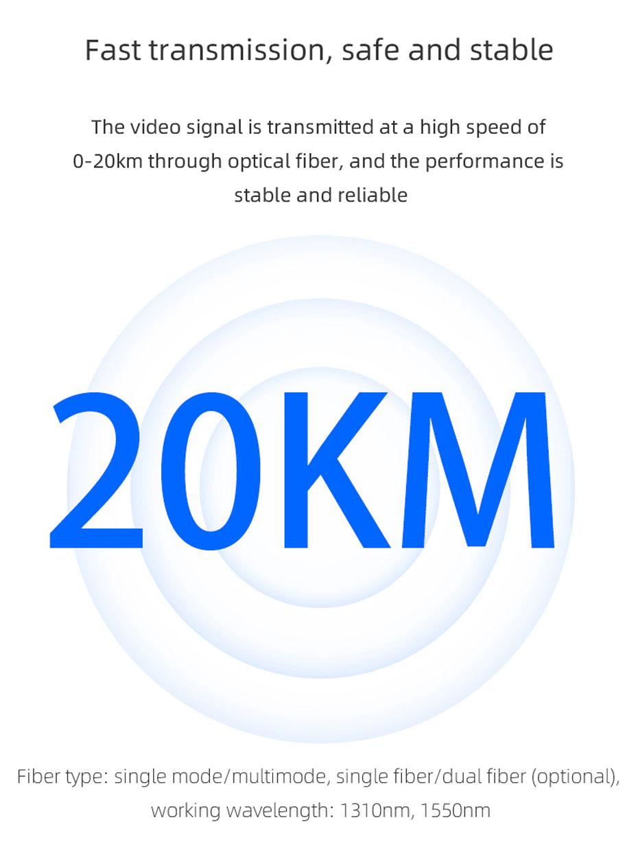20km SDI optical transceiver SDF01 can extend up to 20km using single-mode fiber